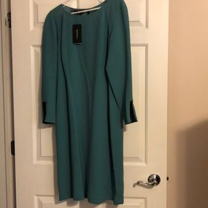 Juniper green dress with leather trim zippers